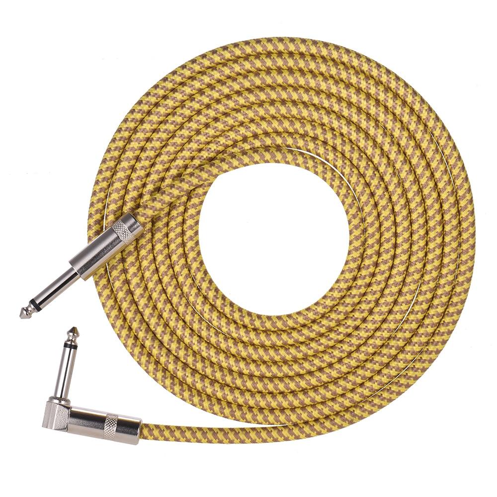 Muslady guitarra eléctrica bajo instrumento Musical Cable de Cable con 6,35mm TRS recto a la derecha-Enchufes angulares chaqueta tejida