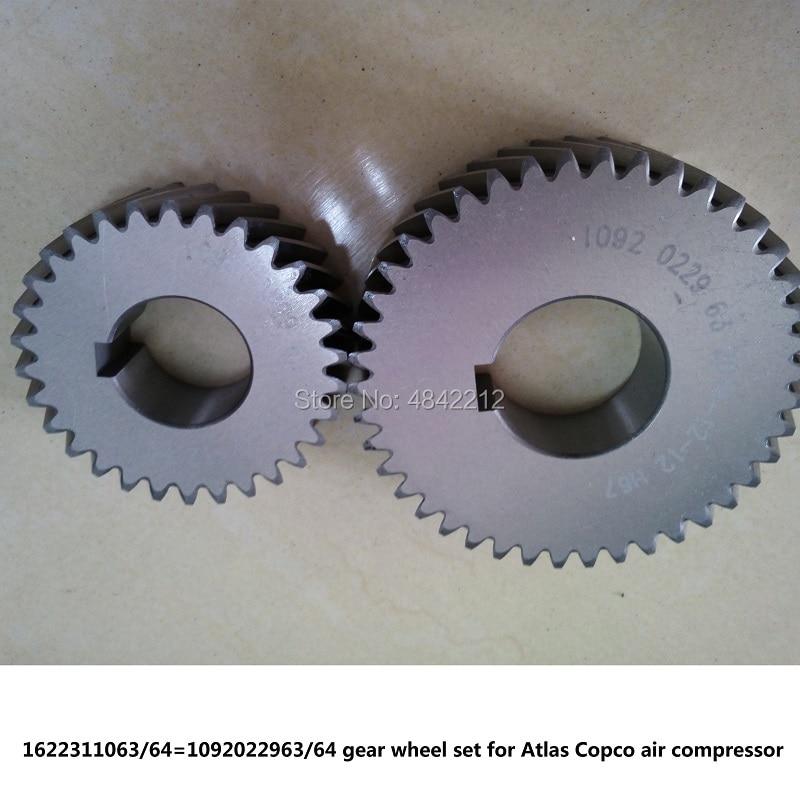 Envío Gratis, juego de ruedas de engranaje genuinas, Eje del engranaje impulsada 1622311063/64 = 1092022963/64 para piezas de compresor de aire de tornillo Atlas Copco