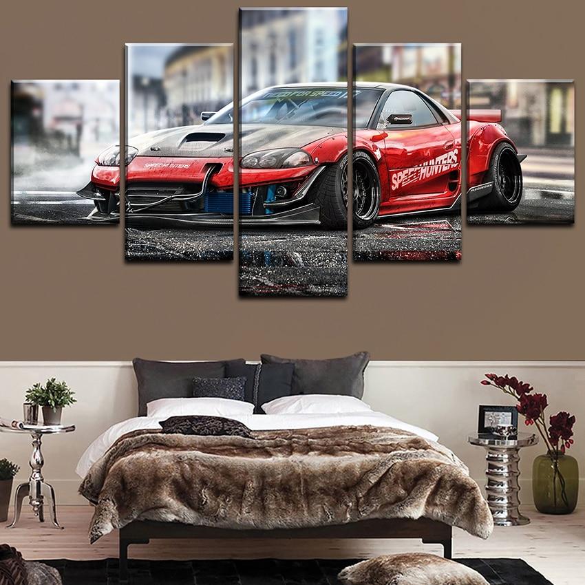 Lienzo impreso pintura arte de pared 5 piezas Speedhunters rojo deportes coche fotos marco para la sala de estar decoración del hogar cartel