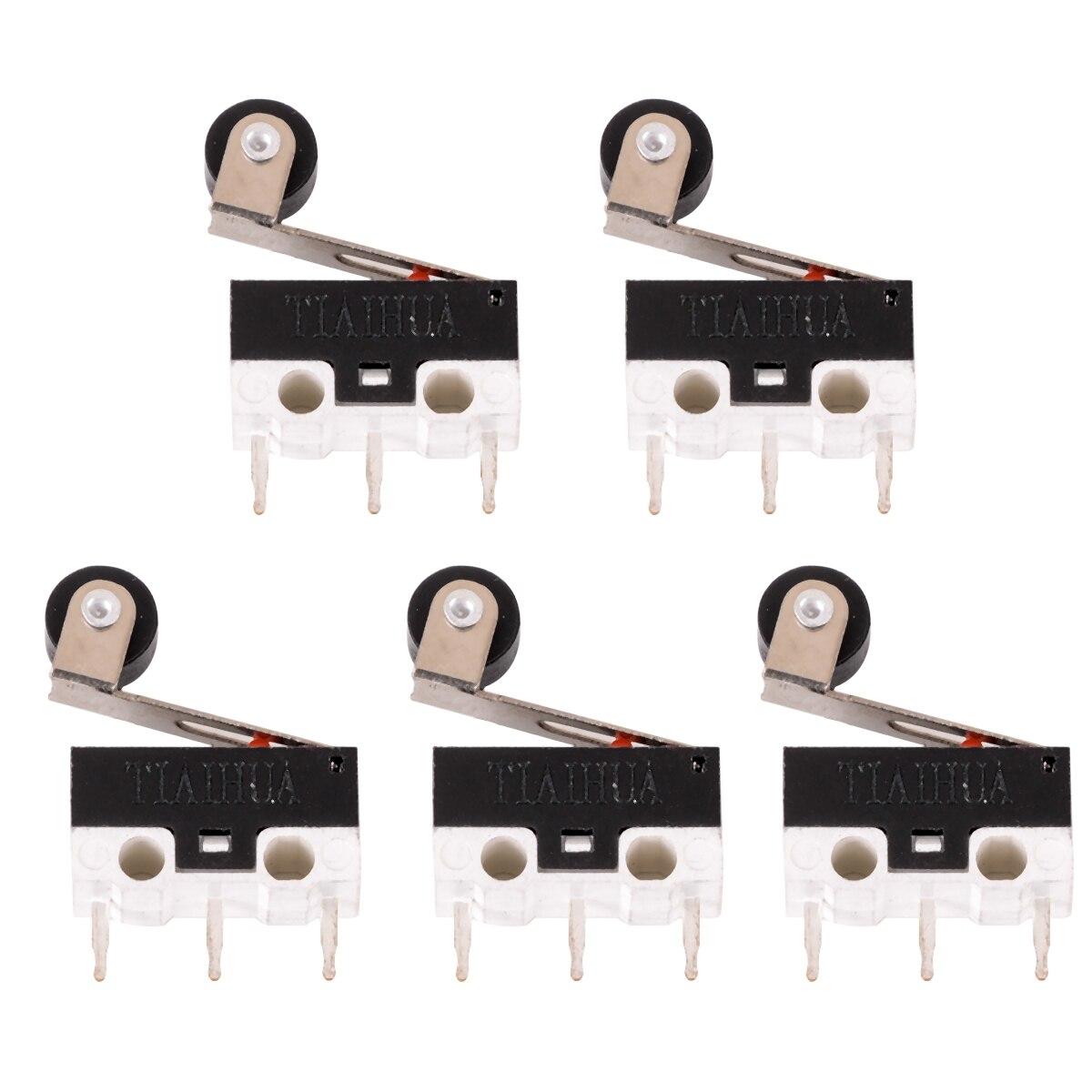 5 uds Micro interruptor Mini Interruptor de Límite Micro palanca con rodillo de bisagra brazo microinterruptor SPDT Sub miniatura 6,5mm