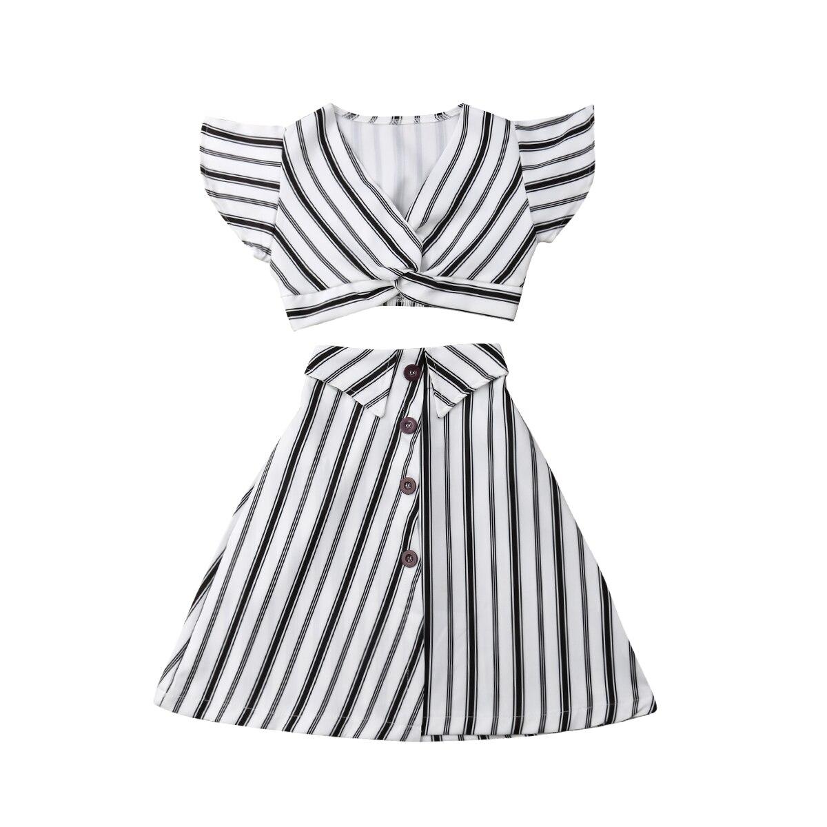 3-8T chico s bebé chica ropa de rayas tops cortos sin mangas Falda larga de fiesta de verano chico trajes de niña 2 uds