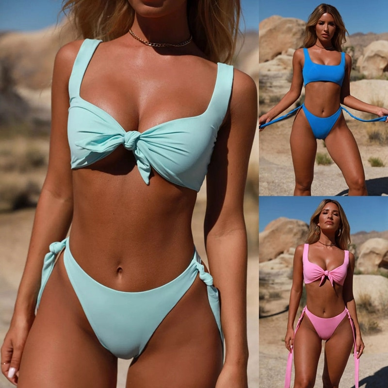 2Pcs Women Push-Up Padded Bow Bra Solid Candy Color Set Sexy Summer Bikini Swimwear Beachwear Set