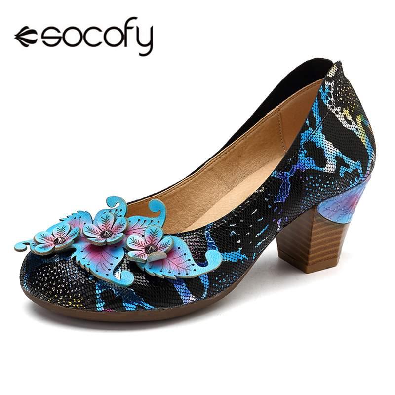 Socofy-حذاء نسائي بكعب عتيق بدون أربطة ، حذاء كلاسيكي من الجلد الأصلي بكعب عالٍ ، لفصلي الربيع والخريف