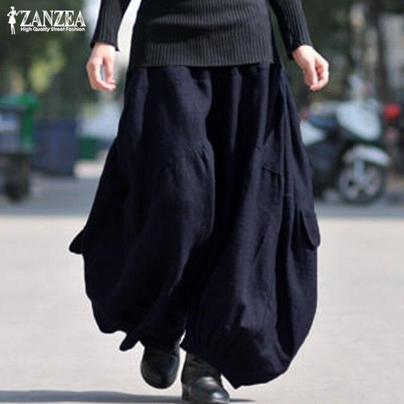 Pantalones Cargo Mujer pierna ancha Tousers Vintage Casual Lino Pantalon Palazzo 2020 ZANZEA mujer cintura elástica pantalones holgados de gran tamaño