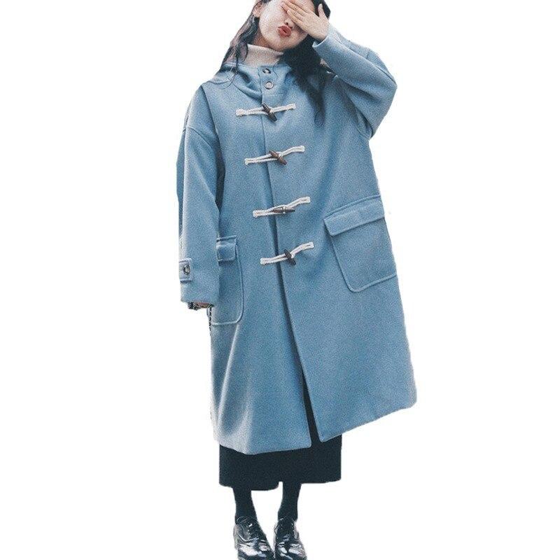 Abrigo de lana Vintage para mujer, abrigos largos para mujer, prendas de vestir exteriores para Otoño Invierno para estudiantes, abrigo holgado de talla grande cuernos gruesos con hebilla A594