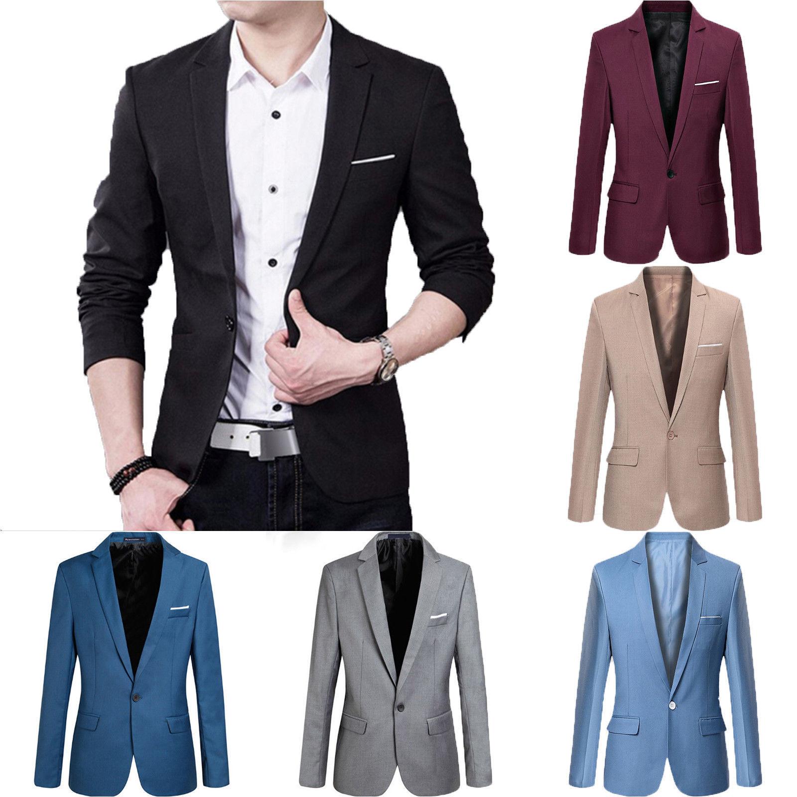 Hot Sale Fashion Men Casual Solid Slim Fit Formal One Button Suit Blazer Coat Jacket Blazer
