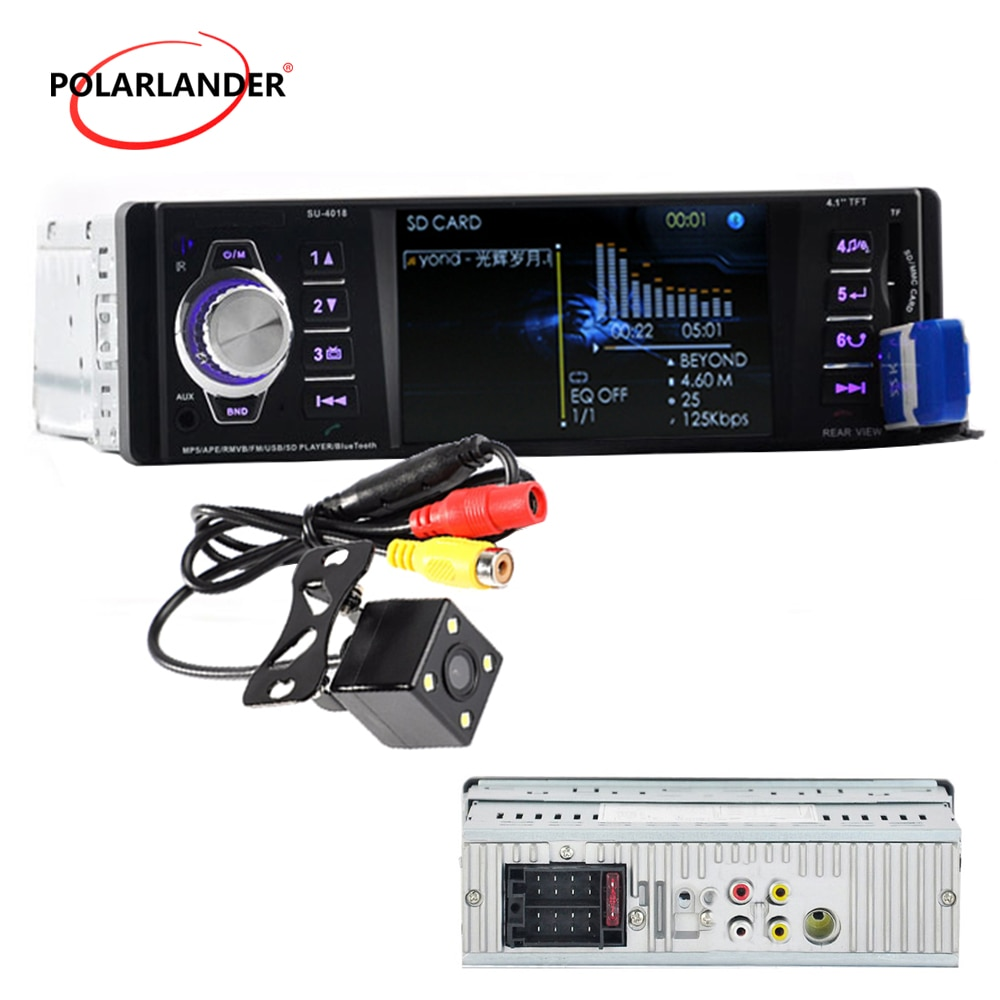 "1 Din coche Radio Autoradio estéreo 1080 P HD TFT USB SD MMC Aux-en 4,1 ""DC 12 V Bluetooth MP4/MP3/MP5 radio reproductor de cassette"