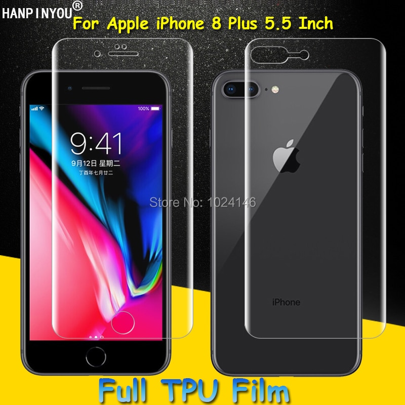 Front / Back Full Coverage Clear Soft TPU Film Screen Protector For Apple iPhone 8 Plus 8Plus Cover