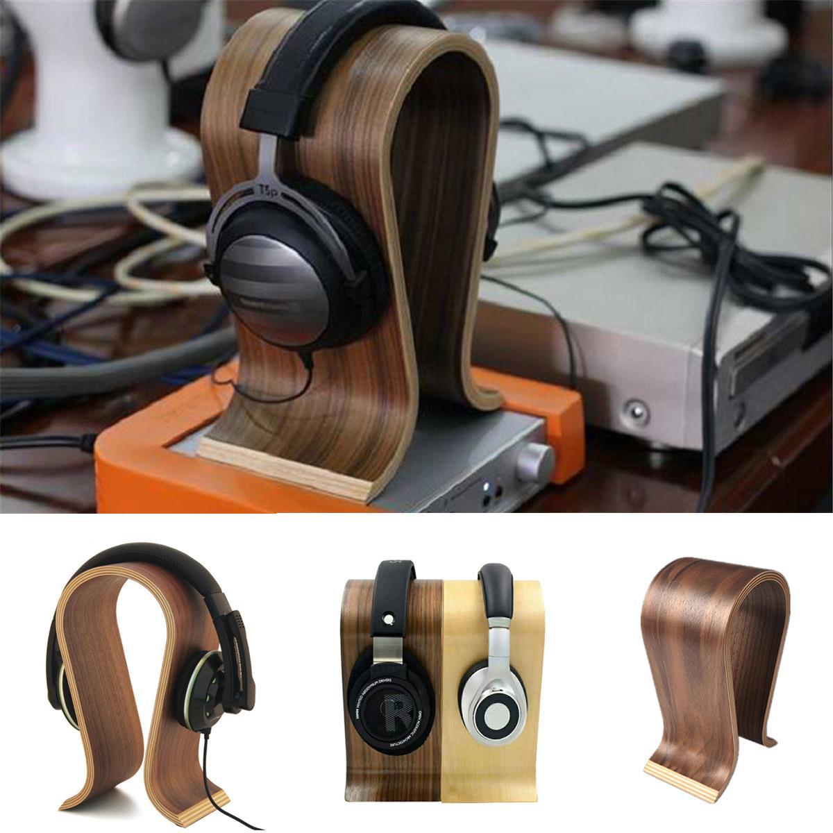 2 Colors Universal U Shape Wood Headphone Stand Earphone Hanger Display Shelf Rack Bracket Desk Portable Earphone Accessories