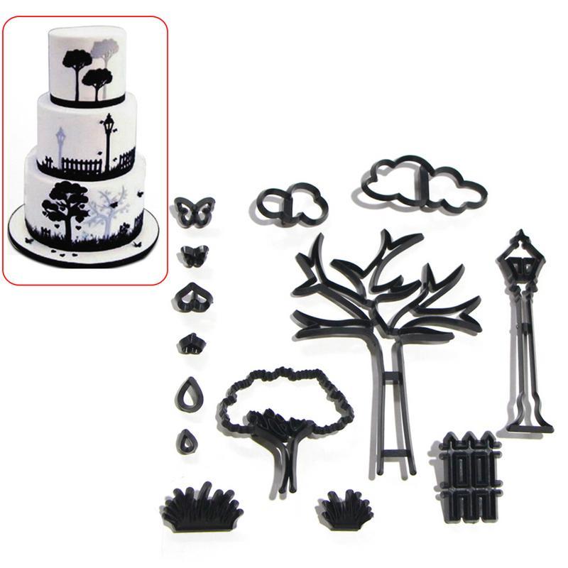 14 PCS Molds Set Park Theme Cookie Cutting Die Cloud Fence Tree Shape Fondant Cake Press Mold DIY Baking Decoration Tool