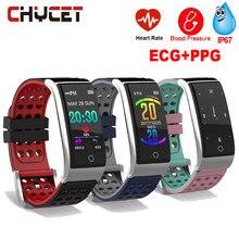 Reloj de seguimiento de Fitness E08 ECG Monitor de frecuencia cardíaca PPG pulsera de Fitness presión arterial impermeable IP67 rastreador de actividad mujeres hombres