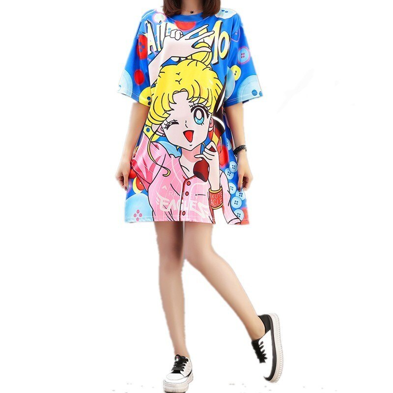 Women Cartoon Sailor Moon Printed Dress Kawaii Girl O-Neck Half Sleeves Sweet Cute Dresses Female Loose Split T Shirt Dress XXL