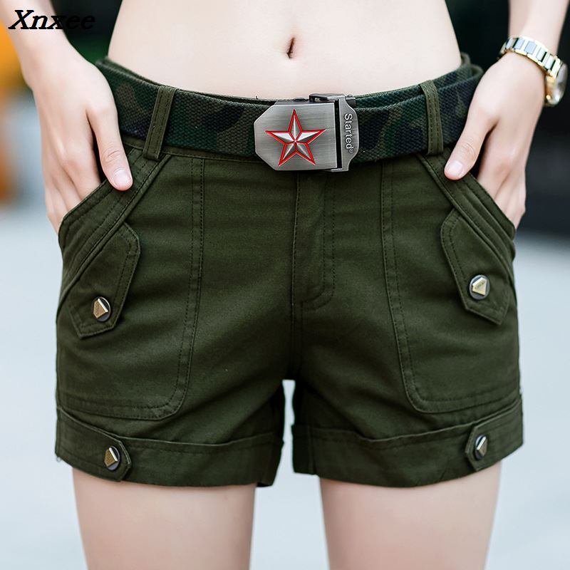 Women summer shorts casual loose zipper with pockets plus size ladies outdoors shorts Xnxee