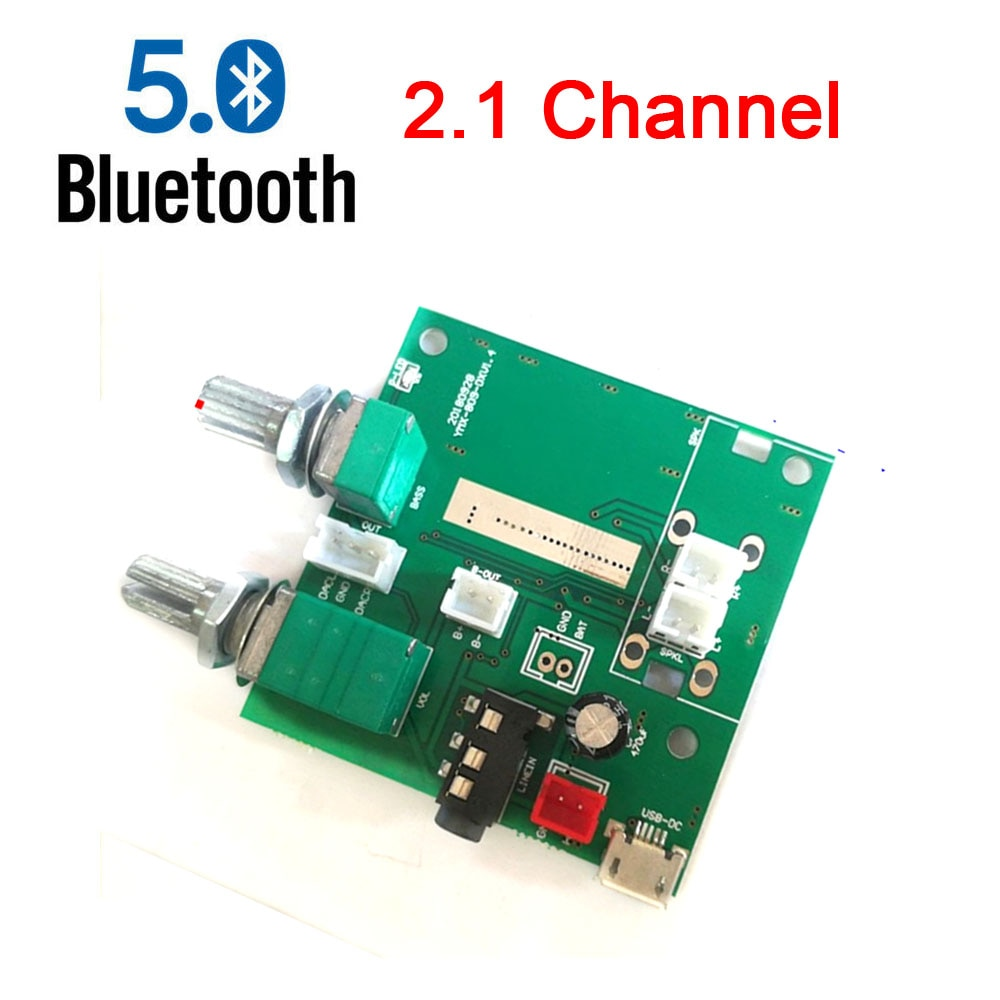 Bluetooth 5,0 20W 2,1 canal 3D amplificador estéreo Audio Digital Subwoofer amplificador clase D placa amplificadora 5V