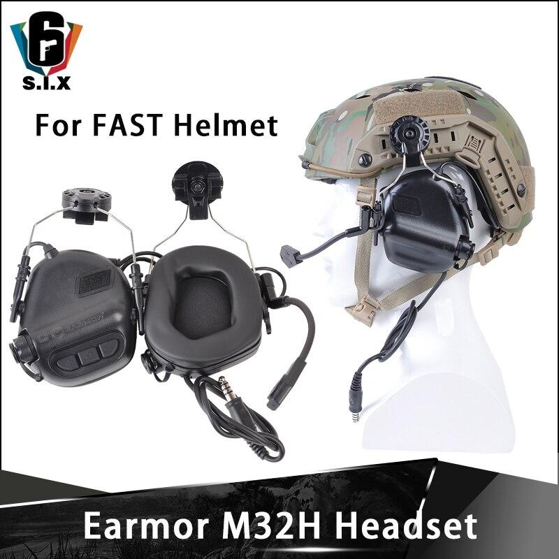 Opsmen earmor softair tático m32h mod3 cancelamento de ruído fones de ouvido para capacete rápido arco ferroviário softair fones de tiro