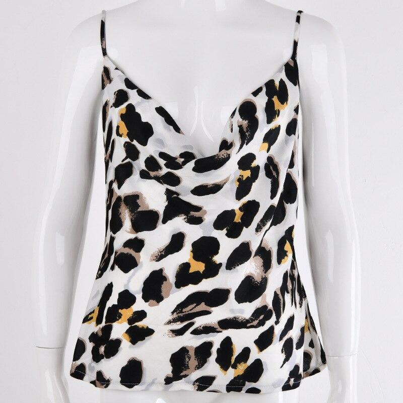 Mujeres Strappy cuello pico leopardo Sexy chaleco Tops espalda descubierta Cami fiesta camiseta camisola