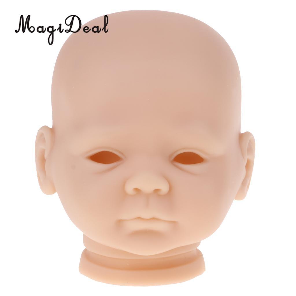 20 pulgadas vinilo sin pintar Reborn muñeca cabeza molde en blanco Kits para bebé DIY haciendo accesorio #3