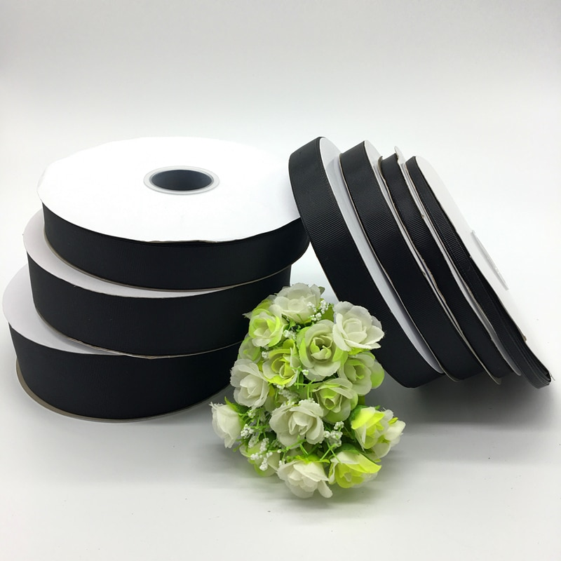 5 yardas, negro, 6mm, 10mm, 15mm, 20mm, 25mm, 38mm, 50mm, ancho, monocromo, cinta de grogrén, lazos para el pelo, boda, manualidades DIY