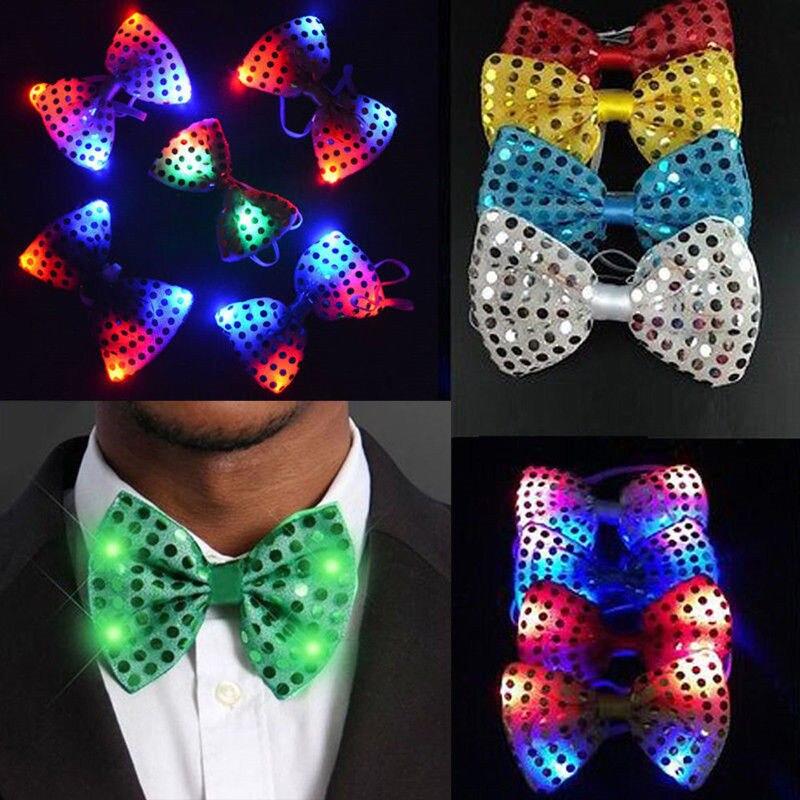 Corbata luz intermitente LED lentejuelas con lazo para hombre, para Club de chicos, pajarita del partido, corbatas de boda, herramientas de fiesta, Collar desmontable