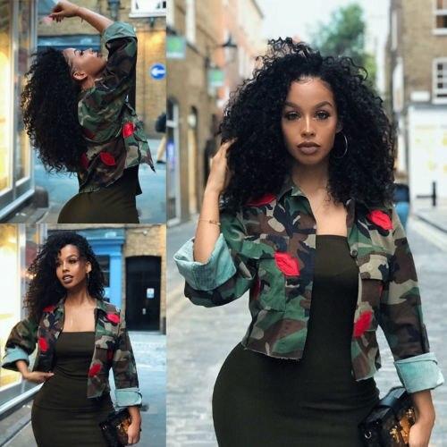 2018 otoño moda mujer Camo señoras militar ejército camisa corta chaqueta prendas de vestir abrigo Tops caliente