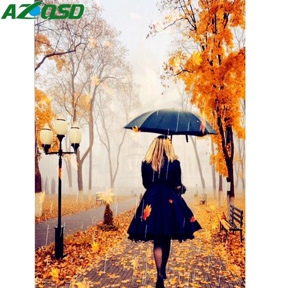 AZQSD, paraguas bordado de diamantes, mosaico de diamantes para niñas, DIY, punto de cruz cuadrada completo, pintura de diamantes de imitación, regalo para decoración del hogar
