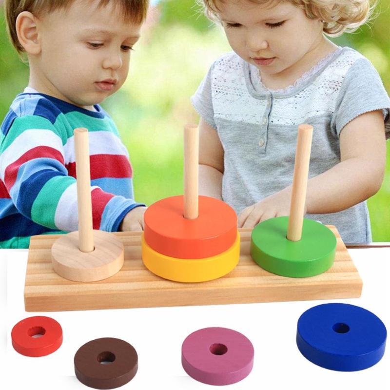Juguetes rompecabezas de madera para niños, juguetes de madera Montessori, Torre apilable de Hanói, Chico, juguetes educativos matemáticos