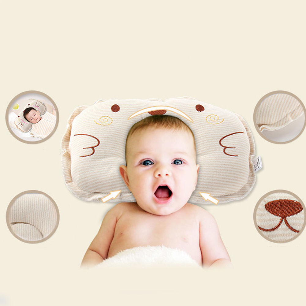 Baby Infant Newborn Head Positioner Pillow Prevent Flat Anti Roll Sleep Cushion
