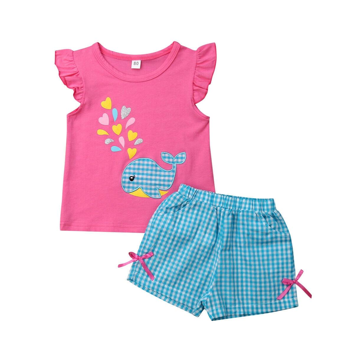 Meninas Do Bebê verão Roupas 2 PCS T-shirt Shorts Roupa Boutique 0-5Y