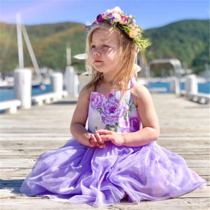 Детское фатиновое платье принцессы для девочки-малыша на день рождения, свадьбу, вечеринку, сарафан Горячее предложение, новое газовое плат...
