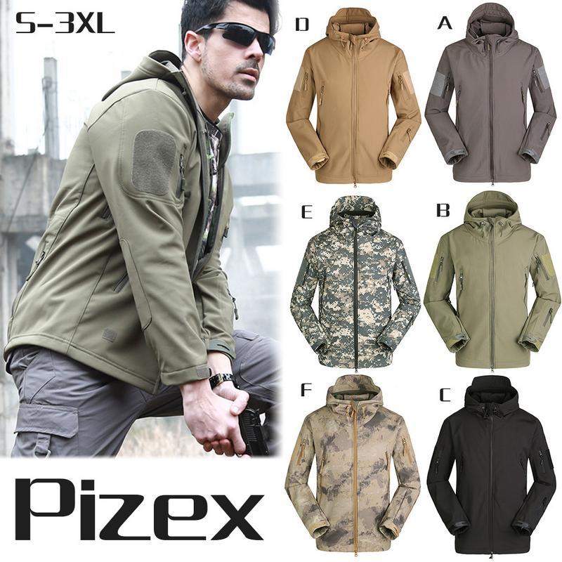 Men Outdoor Softshell Jacket Military Tactical Waterproof Sportswear Hiking Fishing Jacket Male Winter Coat