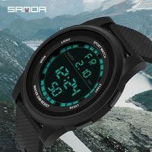 SANDA 3ATM Waterproof Men Digital Watch Super Slim Outdoor Mens Sports Watches Ultra Thin Fashion Military Army Sport Watch