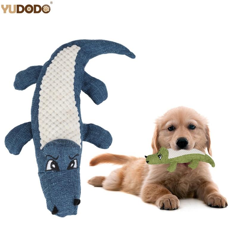 Cartoon Crocodile Linen Dog Toy Bite Resistance Soft Plush Pet Teeth Cleaning Chew Toy Interactive Puppy Cat Squeak Sound Toys