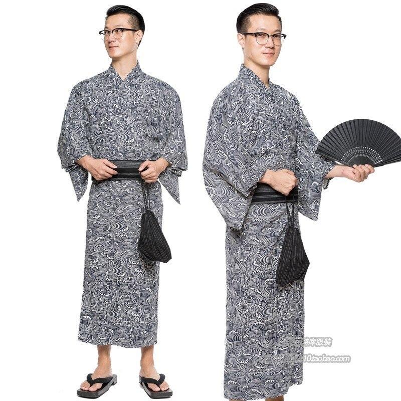 Традиционная японская мужская хлопковая кимоно с Obi Shoes Сумочка веер летние пижамы халаты мужские халаты H9059