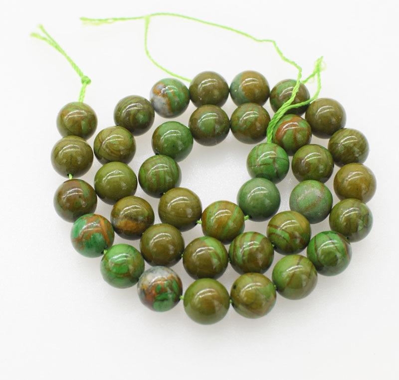 Cuentas sueltas JADE VERDE redondas de 10mm y 15 pulgadas para hacer joyas DIY FPPJ, cuentas al por mayor, piedras preciosas naturales