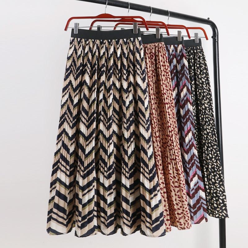 2019 New Spring Summer Bohemian Geometric Pleated Skirts Women Vintage High Waist Leopard Skirt OL Slim Print A-Line Skirt Mw646