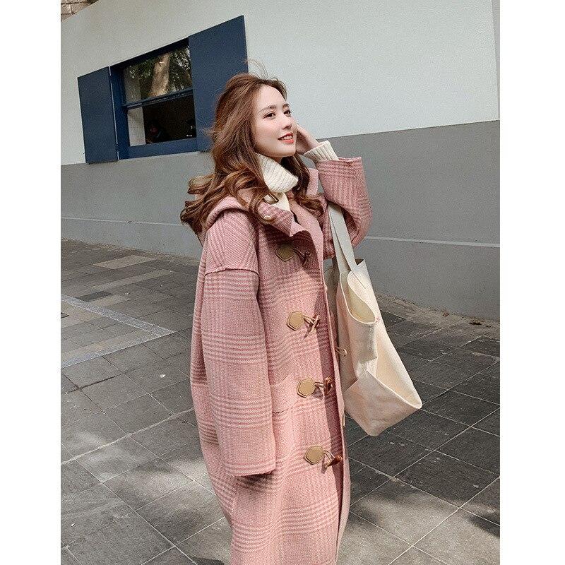 Ox Horn шерстяное пальто свободного кроя для девочек длинный Фонд осень и зима новый