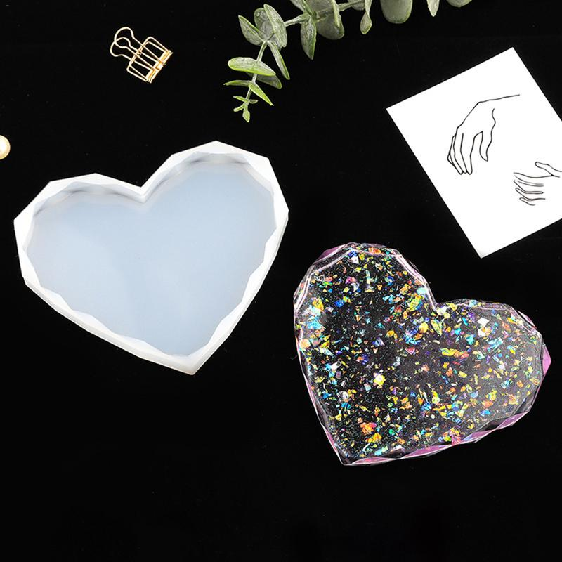 DIY cristal en forma de corazón epoxi Mesa molde silicona Aroma piedra difusa espejo adorno artesanal colgante
