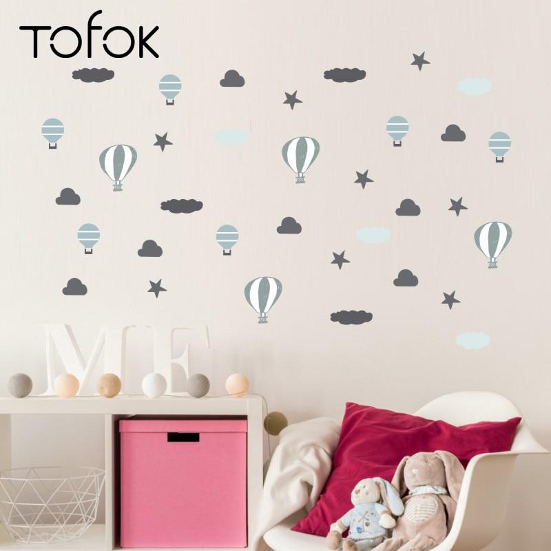 Tofok, globo de aire caliente, pegatina de pared divertida de paracaídas, nubes, estrellas, INS, estilo nórdico, habitación infantil, pegatinas para Mural, decoración del hogar