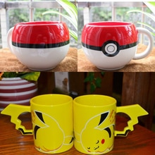 Cute Anime Game Pokemon Go Poke Ball / Pikachu Mug Handgrip Ceramic Coffee Mug Tea Cup For Boy Girl Surprise Gift Customized