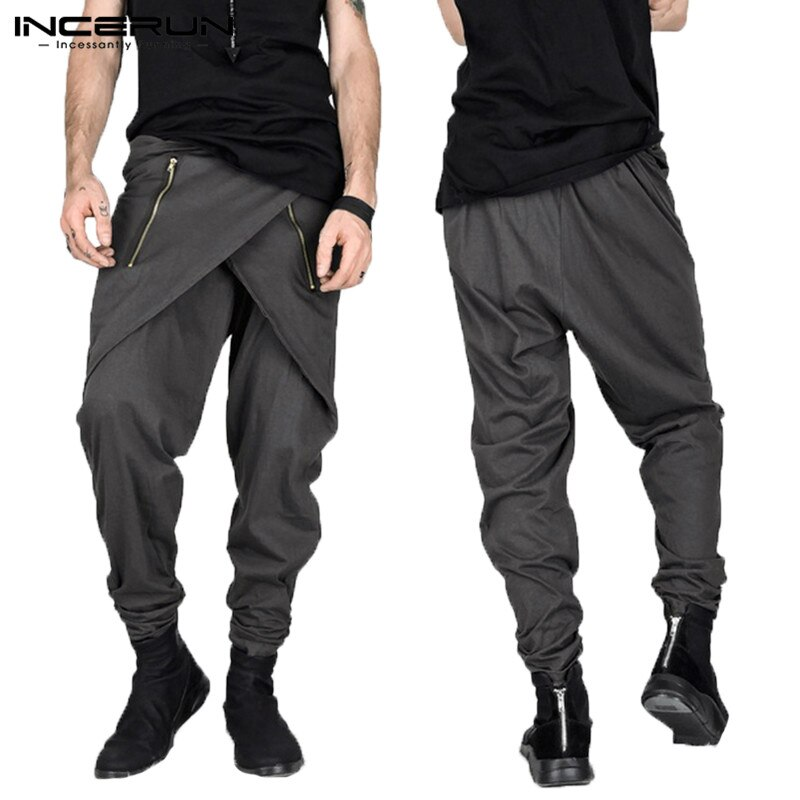 Mode Herren Hosen Gothic Punk Rock Harem Hosen Hiphop Unregelmäßigen Zipper Slim Fit Jogginghose Männlichen Hose Pantalon Zeigen