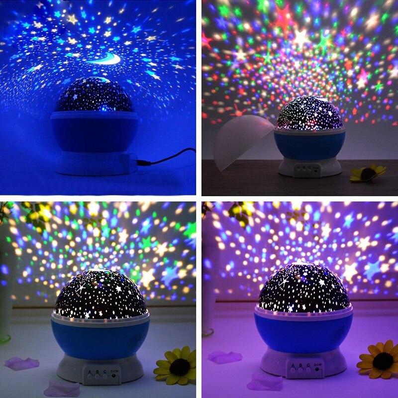Estrellas cielo estrellado luz de noche LED proyector lámpara de Luna batería USB regalos de los niños dormitorio de los niños de la lámpara de proyección