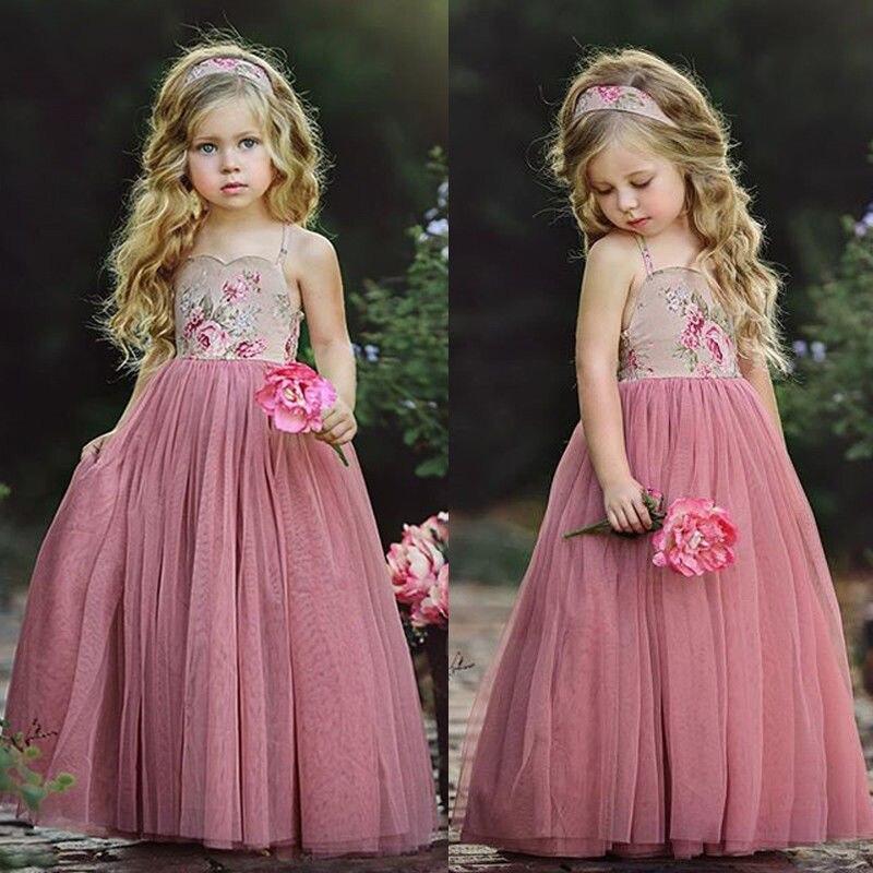Pudcooc Girl Dress Kids Girl Lace Flower Dress Maxi Long Princess Party Dresses Gown Formal Dress