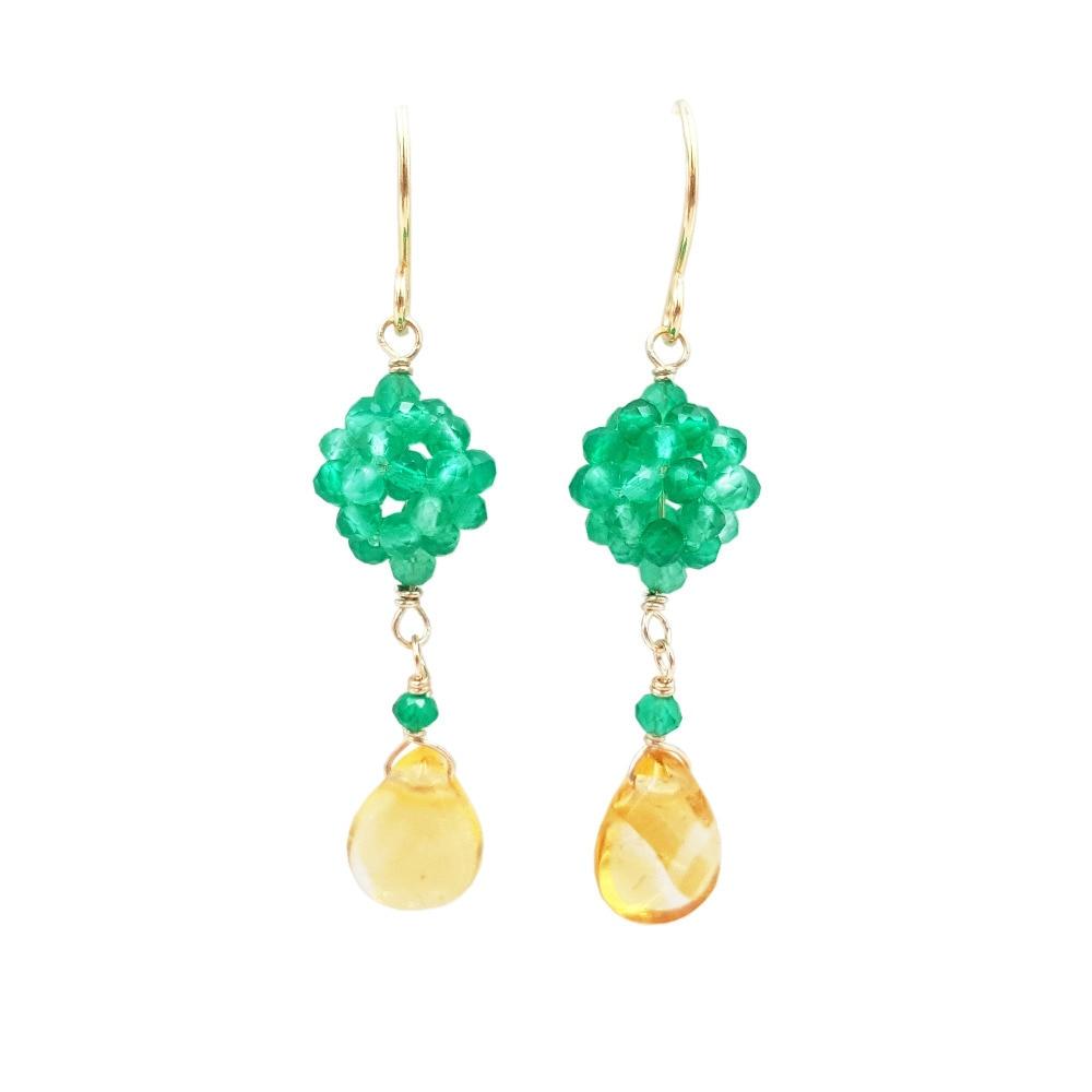 Lii Ji piedra preciosa ónix verde, citrino 925 plata esterlina 18K oro plateado gota pendiente