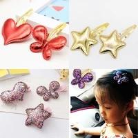 new lovely girls kids 1pc high quality luminous children pink star golden butterfly paillette heart girls hair clips