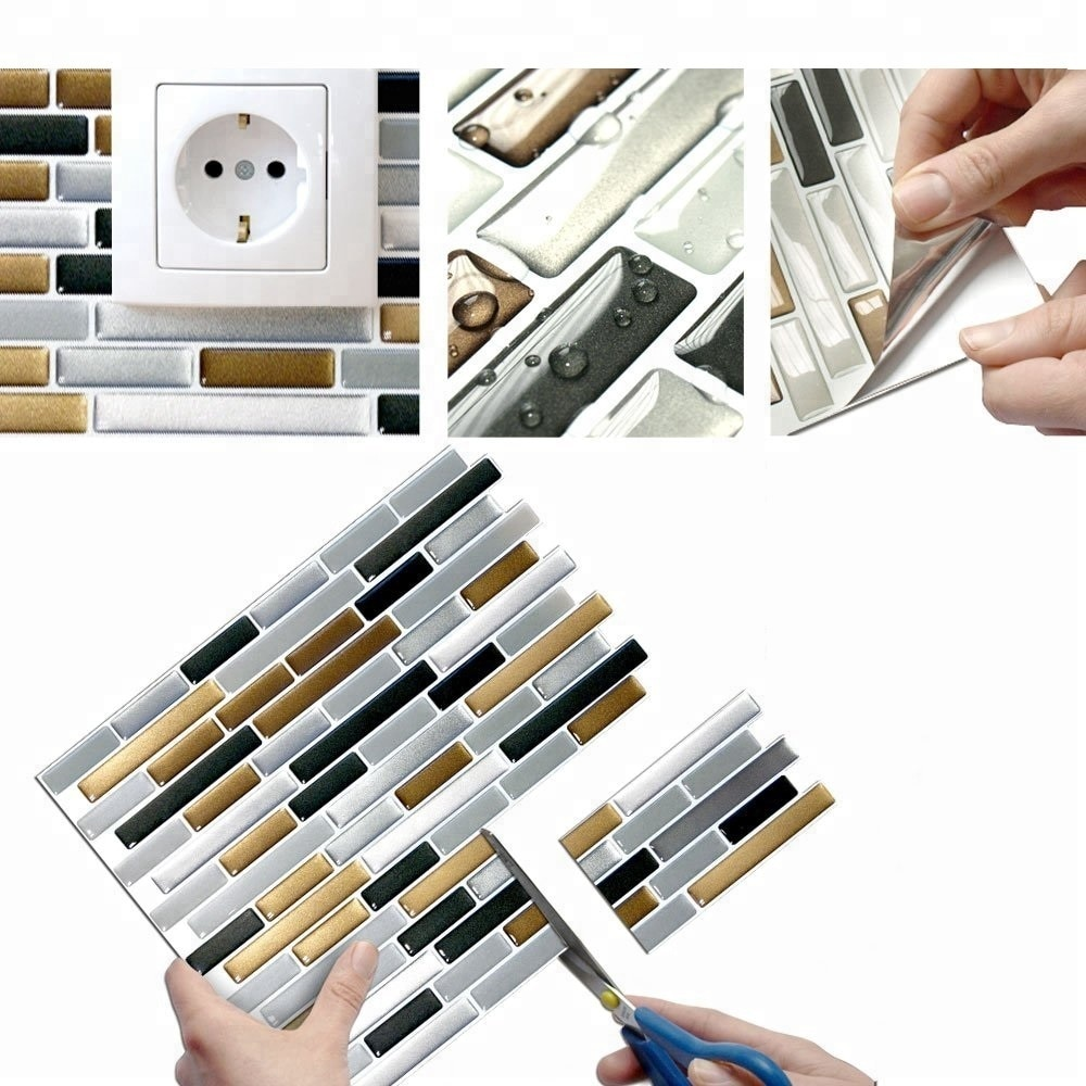 Vividtiles Self Adhesive Mosaic Tile Wall decal Sticker DIY Kitchen Bathroom Home Decor Vinyl Copper Dark Grey Silver Wallpaper