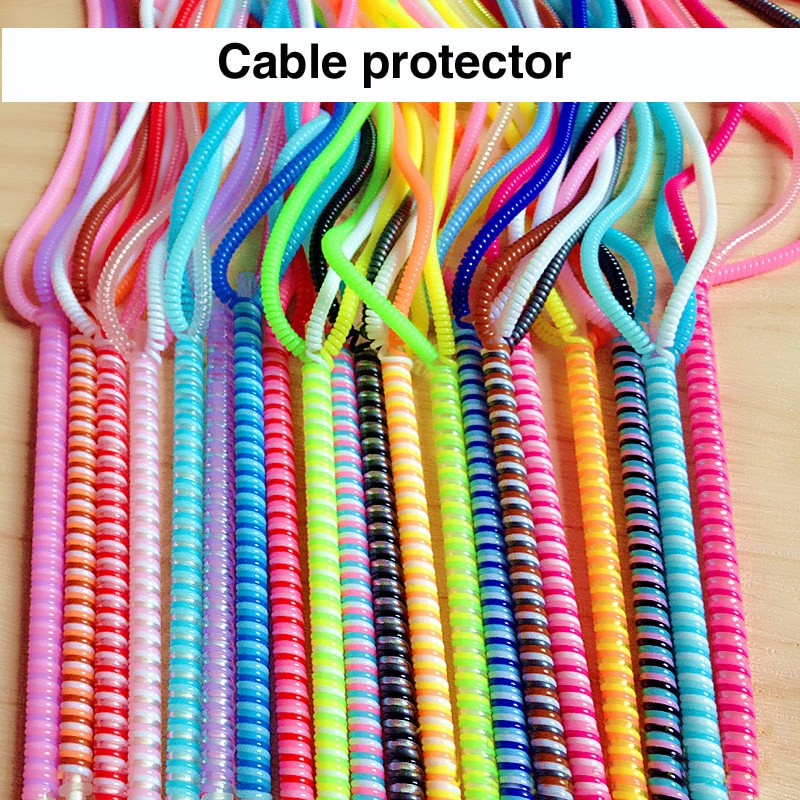 60cm Farben Daten Kabel Schutzhülle Frühling schnur Für Iphone Android USB Lade kopfhörer Fall Abdeckung spuler
