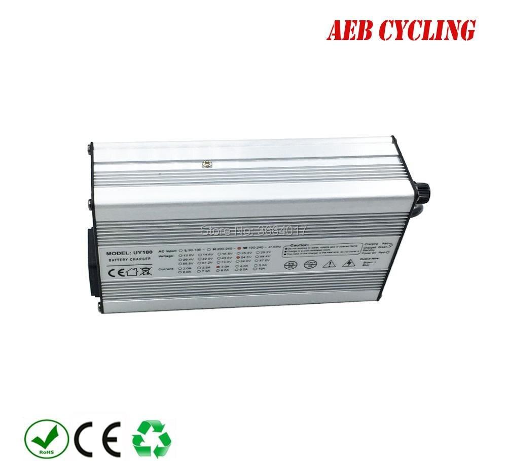 Frete grátis 10 Pcs/lote 48 V/52 V carregador de bateria Li-ion 54.6 V/58.8 V 2A carregador de bateria para 48 V/52 V para baixo tubo ebike bateria