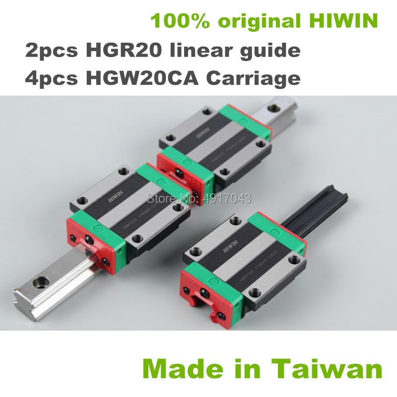 HGR20 HIWIN خطي السكك الحديدية: 2 قطعة 100% الأصلي دليل خطي السكك الحديدية 650 700 800 900 1000 مللي متر + 4 قطعة HGW20CA النقل كتل CNC أجزاء