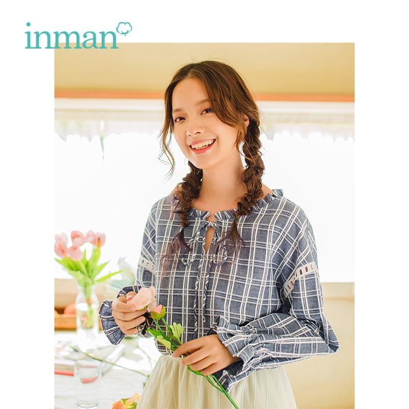 INMAN primavera otoño o-cuello Retail tartán literario Casual suelta Flare mangas mujer camisa
