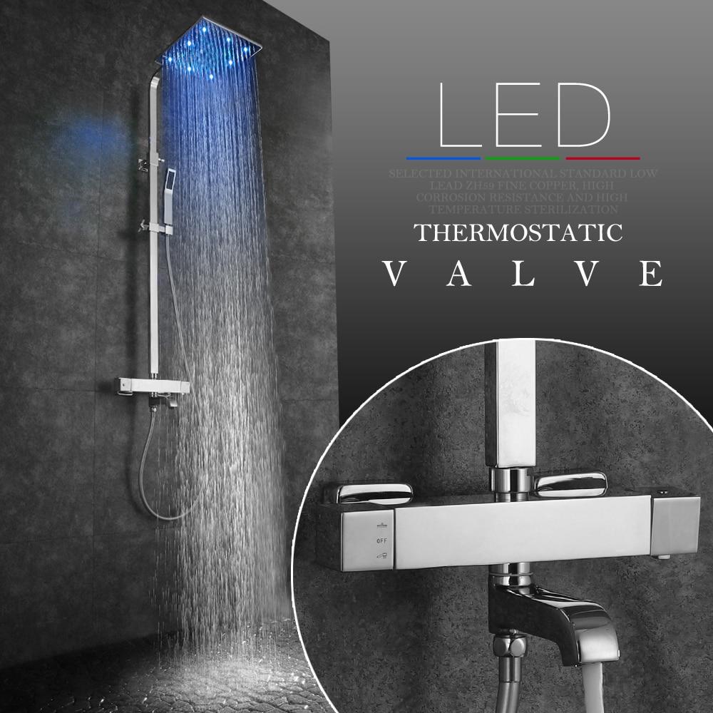 SKOWLL LED Shower Faucets Bathtub Faucet Brass Thermostatic Bathroom Bath Wall Mounted